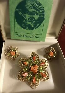 Genuine, Orange-Red Coral Pin and Clip-On Earrings, Handcrafted In Hawaii