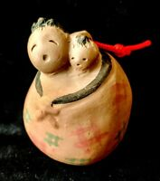 Vintage Japanese CLAY BELL DOREI Ceramic Mother and Child