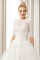 NEW Womens Bridal Ivory/White/Black Tulle Bolero Shrug Wedding Jacket Size S-2XL
