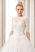 NEW Womens Bridal Ivory/White/Black Tulle Bolero Shrug Wedding Jacket Size S-2XL