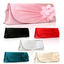 WOMENS LADIES SATIN CLUTCH BAG BRIDAL EVENING PARTY SHOULDER FLOWER HANDBAG