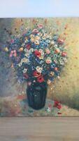 Huile sur toile pot de fleur signée Fougerat. Oil on canvas flower pot signed