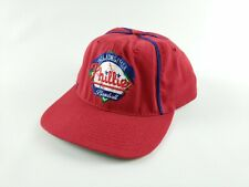 Vtg Phillies Red Snapback Baseball Cap with Blue Trim