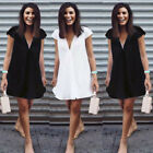 Women Fashion Summer Short Mini Dress Casual Short Sleeve Evening Party Cocktail