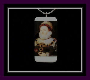 QUEEN ELIZABETH THE FIRST DOMINO PENDANT WITH SILVER STRETCH CORD