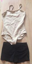 CAPEZIO Youth Girls Sleeveless Nude Leotard  Bodysuit & Black Dance Shorts sz L