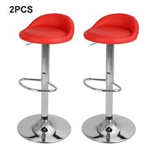 More details for 2x bar stools faux leather kitchen pub low back breakfast bar chair leg chrome