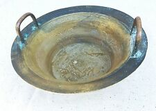 "Antique Chinese Bowl Solid Brass Fish Large Heavy Diameter:11 7/8"" Weight: 3,3lb"