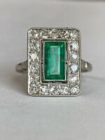 Antique Platinum, 1.50  Ct Columbian Emerald & 0.60 Diamond  ESTATE Ring