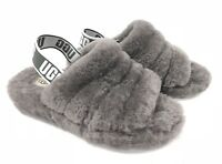 UGG Australia Slingback Fluff Yeah Slides Charcoal Grey Gray Women's Shoes