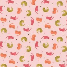 Cotton Classics Tumbling Cat Poplin - Pink - Dressmaking Fabric Quilting Kids