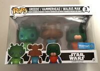Funko Pop! STAR WARS 3 Pack Cantina Greedo Hammerhead & Walrus Man Exclusive