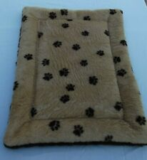 New listing New Crate Mat Dog Bed Faux Fur Tan with Paw Prints/Dark Brown 18 X 24 Handmade