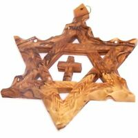 Holy Land Market Extra Large Messianic Star of David with Cross Olive Wood with