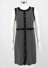 Talbots Dress Womens Black White Geometric Print Stretch Knit Sheath Size 8
