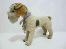 STEIFF Fox Terrier Dog Silk Plush Blank Button 1940s Large 10""