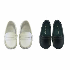 Baby KIDS Boys Slip-on Leather Shoes Cushioned Instep size 0-8.5 in White and NV