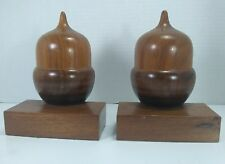 Vintage Hand Crafted Wooden Acorn Bookends, Shelf or Mantel Brackets