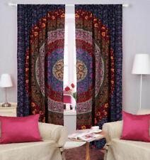 Curtain Door Window Cover Valance Drape Ombre Mandala Floral Sky-Blue Cotton