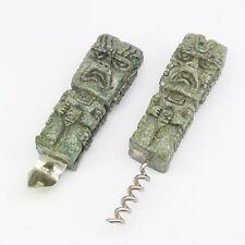 Vintage Aztec Totem Figure Bottle Opener Corkscrew Jade Pebbles in Resin Barware