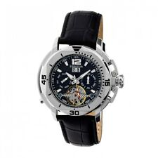 Heritor Automatic Lennon Men's Semi-Skeleton Black Leather Silver Watch HR2802