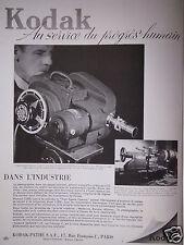 PUBLICITÉ 1947 KODAK HIGH SPEED CAMÉRA TYPE III  - ADVERTISING