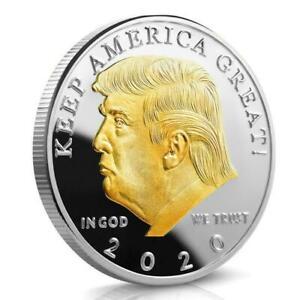 Donald Trump & Adler - USA PRÄSIDENT - MEDAILLE - SILBER AUFLAGE - MIT GOLD - PP