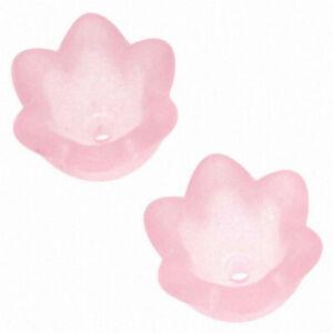 Lucite Tulip Flower Bead Caps Matt Pink 6X10mm (12 Pieces)
