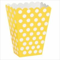 YELLOW POLKA DOTS FAVOR BOXES (8) ~ Birthday Party Supplies Treat Loot Goody