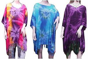 Fair Trade Tie-Dye Boho Tasseled Tunic Top Beach Cover Purple Blue Rainbow 8-24