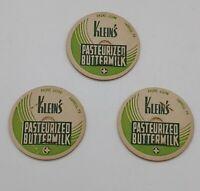 Klein's Vintage Dairy Milk Bottle Caps Farrell PA. Pasteurized.3 pieces. W&green