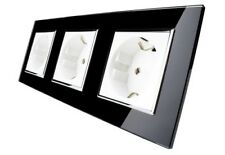 3 Fach Steckdose in Schwarz/Weiß Glas LIVOLO VL-C7C3EU-COLOUR