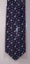 Swans on navy Silk Tie