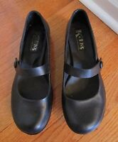 KORKS KORK-EASE Black Leather Wedge Mary Janes Size 8/39 one inch heel button