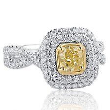GIA Certified 1.43 Ct VS1 Yellow Cushion Diamond Engagement Ring Infinity 18k
