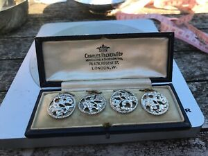 Antique Art Nouveau Sterling Silver Floral Buttons Set of 4,