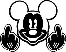 Mickey Mouse Decal Sticker Middle Fingers **Size and Color Choice**