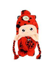 Boy or Girl LADYBUG HAT & SCARF SET Red with Black Dots Unisex Kids