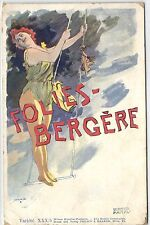 Walter Hampel, Folies-Bergére, Circus, Aerialist Lady, Old Postcard Pre. 1905