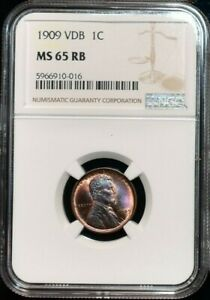 1909 VDB LINCOLN WHEAT 1 CENT NGC MS 65 RB BEAUTIFUL HIGH GRADE GEM NICE LUSTER