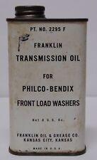 Old Vtg 1960s FRANKLIN TRANSMISSION OIL GAS CAN ADVERTISING TIN KANSAS CITY KS