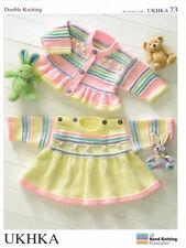 Double Knitting DK Pattern Baby Girls Buttoned Cardigan Matching Dress UKHKA 73