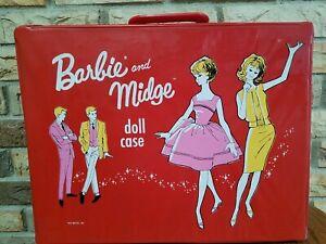 1963 Vintage Barbie & Midge Doll Red Storage Carrying Case