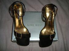 NINE WEST UK 5.5 EU 38.5 US 7.5  jeweled BLACK Velvet Sandals   RRP £55.00