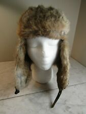 Yukon Tracks Forest Hunting Snow Hat Rabbit Fur Trim with Flaps Size L