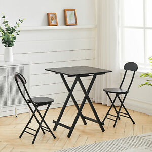 Square Folding 60/70/80cm Dining Table and 2/4 Chairs Lounge Office Bar Home