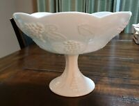 "Vintage Milk Glass - White Fruit Bowl Dish Vase 7"" Tall, 10"" Wide"