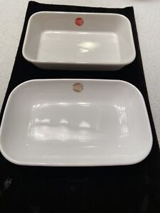 "VTG PAIR CONTINENTAL AIRLINES RED GOLD LOGO 6"" DISH/ BOWLS UNUSED"