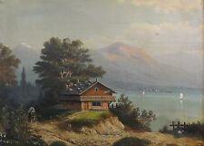 Th. Hansen - Alpen-Gemälde um 1890: BAYERISCHES HAUS AM CHIEMSEE und KUTSCHE