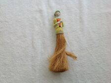 Antique Clothing Brush Porcelain Lady Yellow Dress Flapper Style Cute Green Hat